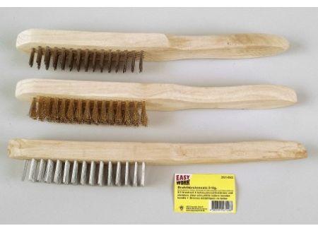 Easy Work Drahtbürstensatz 3teilig mit Holzstiel bei handwerker-versand.de günstig kaufen