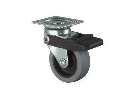 BS Rollen Lenkrolle mit Fesststeller Gummirad grau , Gleitlager 50 mm bei handwerker-versand.de günstig kaufen