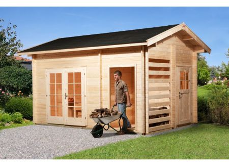 Gartenhaus 150 mit Holzlager und Geräteraum
