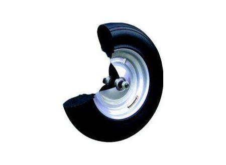 Rad aus polymerem Gummi mit Kugell. u.Achse 400x100