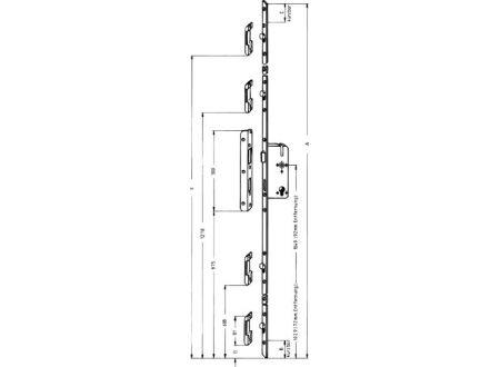 KFV Mehrfachverriegelung Nr. 8772F verzinkt 8/55/72mm 2170X20mm