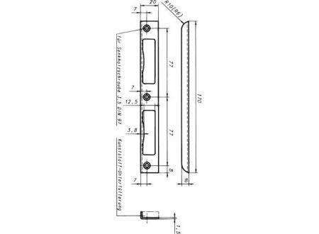 EDE Winkel-Schließblech 170x20x8 mit Einl.ohne Befw.silber bei handwerker-versand.de günstig kaufen