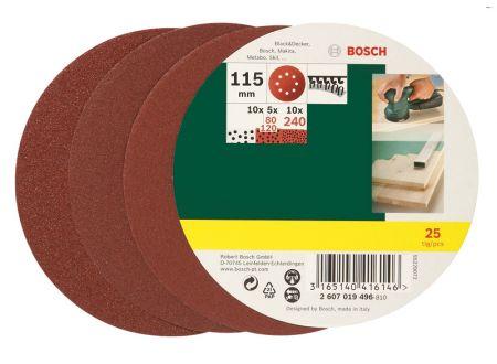 Bosch 125-teiliges Schleifblatt-Set für Exzenterschleifer Ø 115