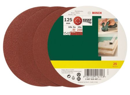 Bosch 125-teiliges Schleifblatt-Set für Exzenterschleifer Ø 125