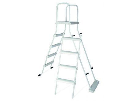 Hochbeckenleiter 2x4 Stufen mit Plattform und Kindersicherung bei handwerker-versand.de günstig kaufen