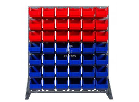 Ramses Lagerbox Regal mit 18 roten und 24 blauen Lagerboxen Größe 3 Höh