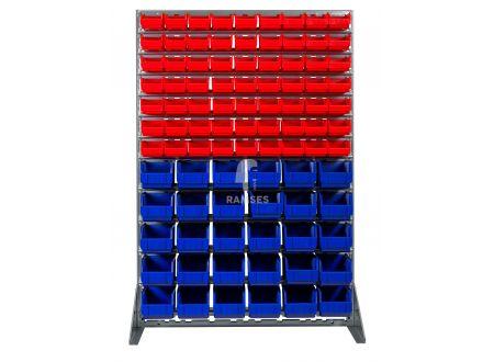 Ramses Lagerbox Regal mit 63 roten Lagerboxen Größe 4 und 30 blauen Lag