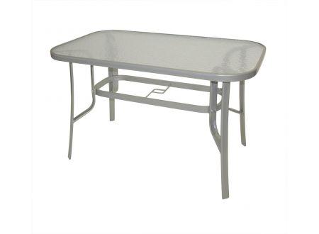 Tisch Stahl/Glas 70x120cm, silber