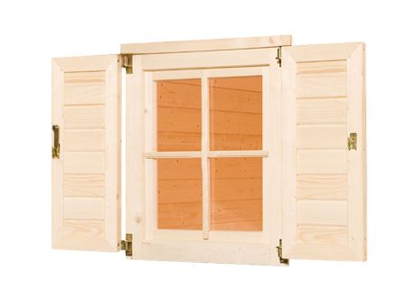 Weka Fensterladen und Blumenkasten für Gartenhaus 123
