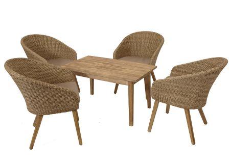 FRG Lounge Garnitur Retro 5-teilig, Geflecht + Akazienholz bei handwerker-versand.de günstig kaufen