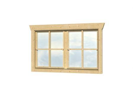 Skan Holz Doppelfenster 28mm 2x57,5x70,5cm natur