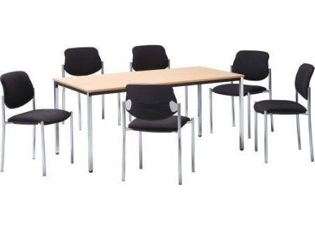 EDE Tisch 1Stück Maße:800x800mm Farbe:chrom/buche