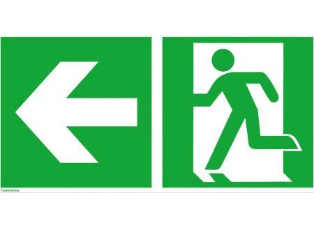 Schild Folie 200 x 400 mm Rettungsweg links oder rechts Ausführung:200 x 400 mm, Folie selbstklebend