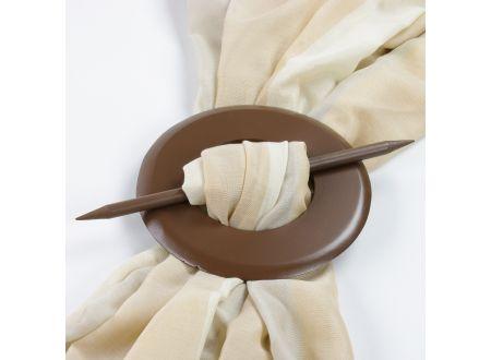 Raffspange aus Holz rund für Gardinen Farbe:nußbaum