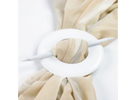 Raffspange aus Holz rund für Gardinen Farbe:weiß