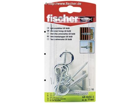 Universaldübel UX Fischer mit Rundhaken Ausführung:UX 8 x 50 RH K SB