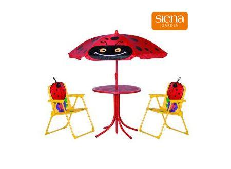 Gartenmöbelset für Kinder, 2 Stühle, 1 Tisch Motiv:Marienkäfer-Rot