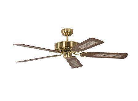 Ventilator Potkuri Farbe Gehäuse:Messing seidenmatt Farbe Flügel:Eiche-Rattan