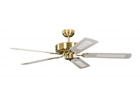 Ventilator Potkuri Farbe Gehäuse:Messing seidenmatt Farbe Flügel:Weiß-Rattan