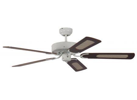 Ventilator Potkuri Farbe Gehäuse:weiß Farbe Flügel:Mahagonie-Rattan
