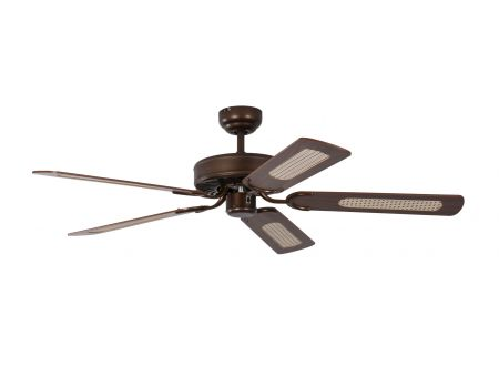 Ventilator Potkuri Farbe Gehäuse:gealterte Bronze Farbe Flügel:Wallnuss-Rattan