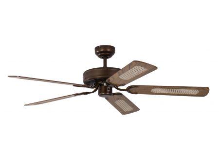 Ventilator Potkuri Farbe Gehäuse:gealterte Bronze Farbe Flügel:Eiche-Rattan