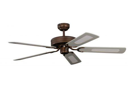 Ventilator Potkuri Farbe Gehäuse:gealterte Bronze Farbe Flügel:Weiß-Rattan