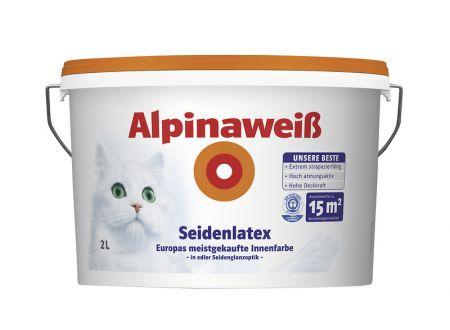 Alpinaweiß Seidenlatex Farbe:2l