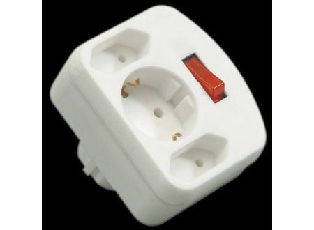 Kombi-Adapter mit Schalter Farbe:weiß