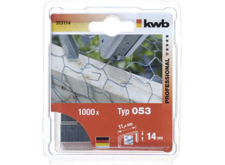 1000 Heftklammern Stahl Typ:53 Größe:14mm