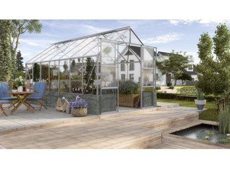 Gewächshaus Cassandra 11,5m² Aluminium-Blank Sockelmauer anthrazit bei handwerker-versand.de günstig kaufen