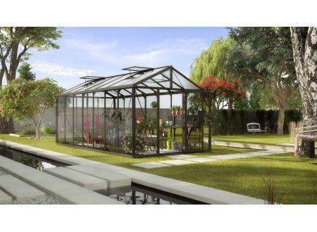 Gewächshaus Zeus 13,8m² ESG 4mm u. HKP 10mm schwarz bei handwerker-versand.de günstig kaufen