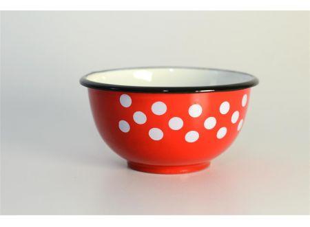 Schale emaillert rot/weiß Durchmesser:12cm