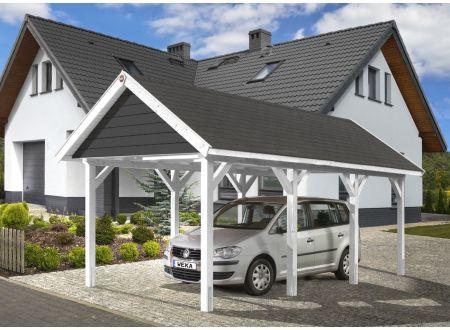 Weka Leimholz Satteldachcarport 614 Größe:Größe 1