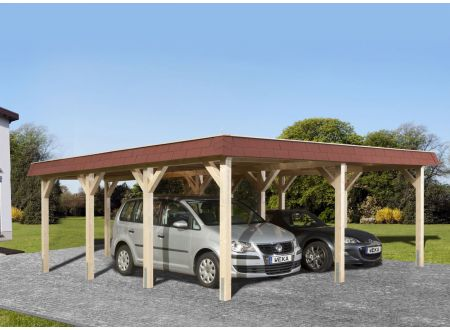 Weka LeimholzFlachdach Carport 615 Größe:Größe 1 Ausführung:Doppelcarport