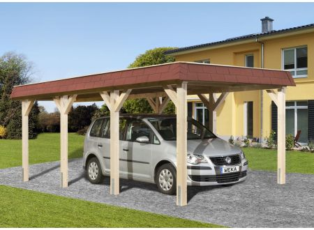 Weka LeimholzFlachdach Carport 615 Größe:Größe 1 Ausführung:Einzelcarport