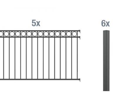 ALWA GrundsetZierzaun Circle 10m Höhe:1200mm Farbe:anthrazit Ausführung:zum Einbetonieren