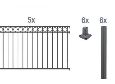 ALWA GrundsetZierzaun Circle 10m Höhe:1000mm Farbe:anthrazit Ausführung:zum Aufschrauben