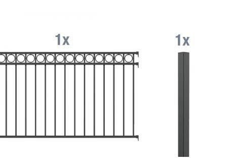 ALWA AnbausetZierzaun Circle 2m Höhe:1200mm Farbe:anthrazit Ausführung:zum Einbetonieren