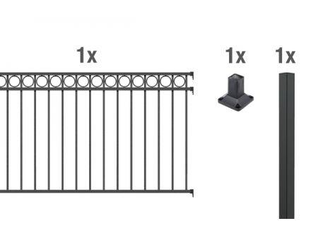 ALWA AnbausetZierzaun Circle 2m Höhe:1200mm Farbe:anthrazit Ausführung:zum Aufschrauben