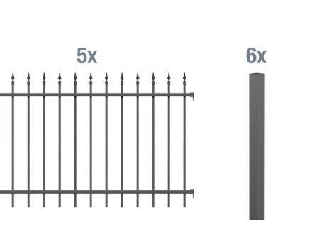 ALWA GrundsetZierzaun Chaussee 10m Höhe:1200mm Farbe:anthrazit Ausführung:zum Einbetonieren