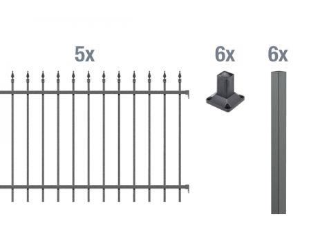 ALWA GrundsetZierzaun Chaussee 10m Höhe:1200mm Farbe:anthrazit Ausführung:zum Aufschrauben