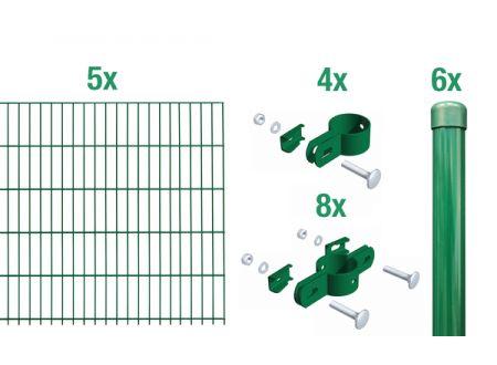 ALWA Einstab-Zaunmatten-Grundset Draht Länge:10m Mattenbreite x Höhe:2000 x 750mm Farbe:grün