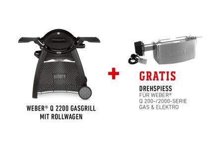 Weber Q2200 Set mit Premium Rollwagen & Drehspieß bei handwerker-versand.de günstig kaufen