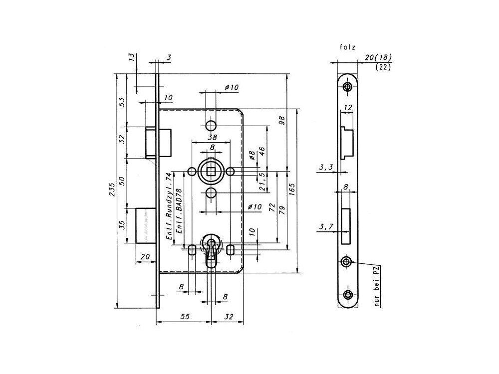 Edelstahl Stulp 20mm SSF Einsteckschloss für Objekttüren ES 53 PZW DIN links
