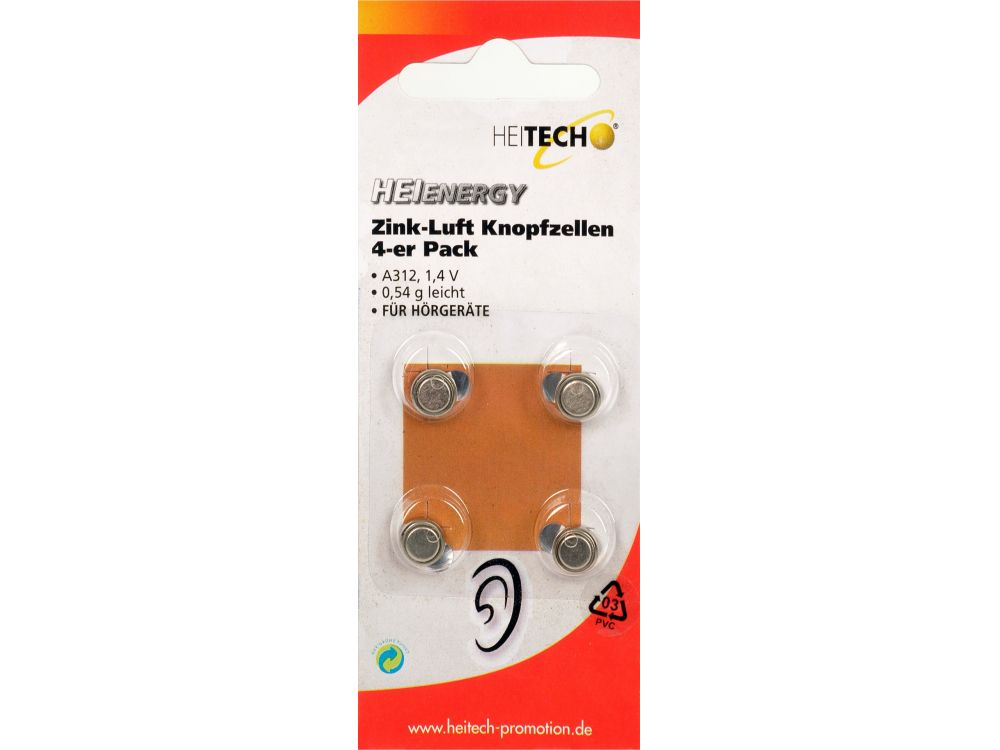 Zink-Luft Knopfzellen 4er Pack 160mAh