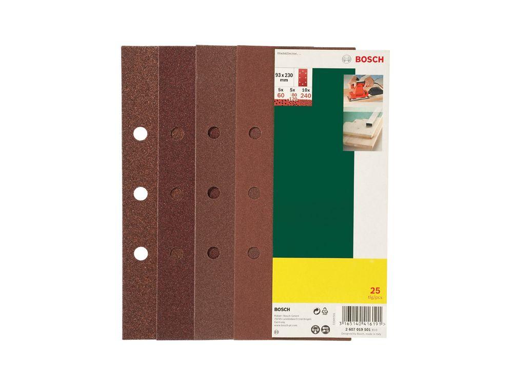 Bosch 25-teiliges Schleifblatt-Set für Schwingschleifer, gespann