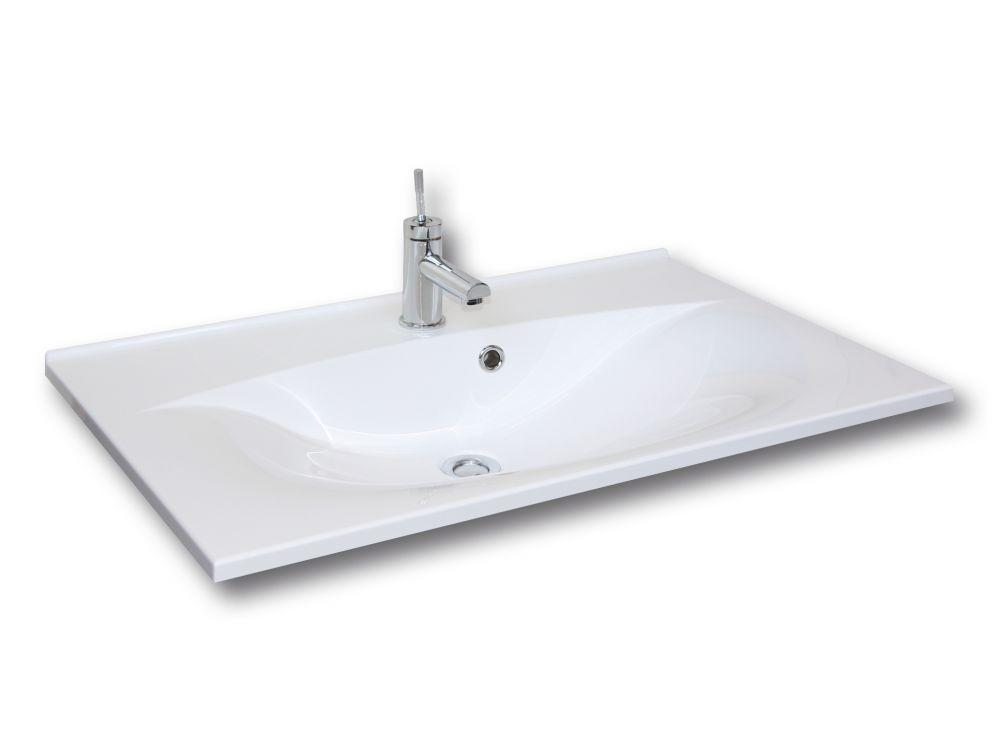 FACKELMANN Gussbecken 80x15x50 weiß, wellenförmig
