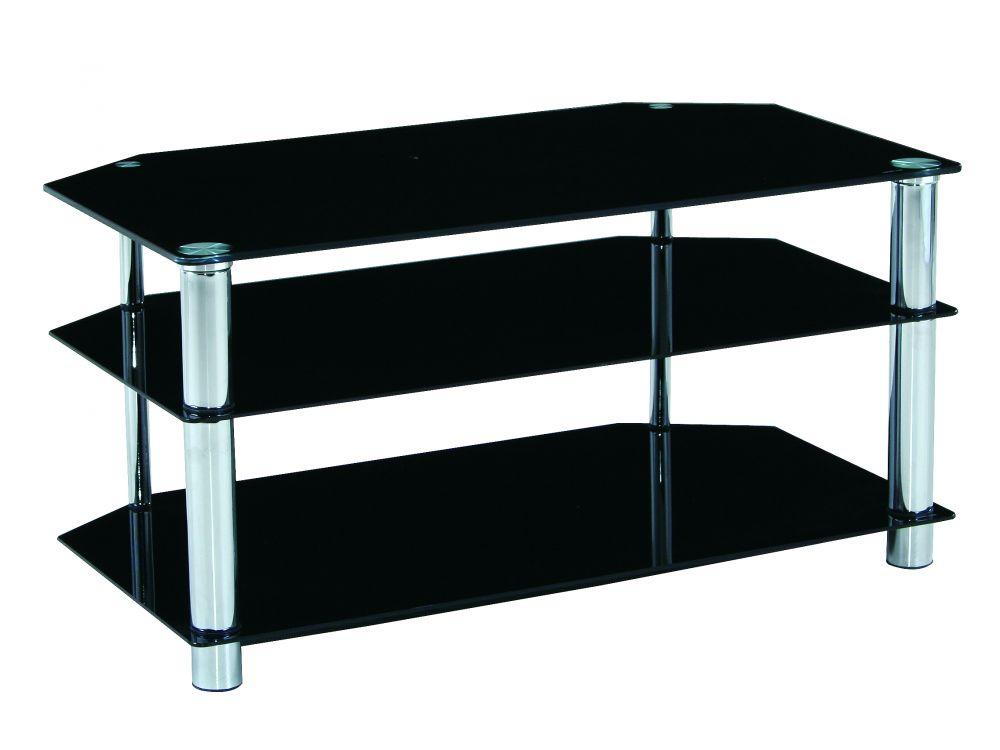 frg indoor tv rack manhattan glas schwarz kaufen. Black Bedroom Furniture Sets. Home Design Ideas