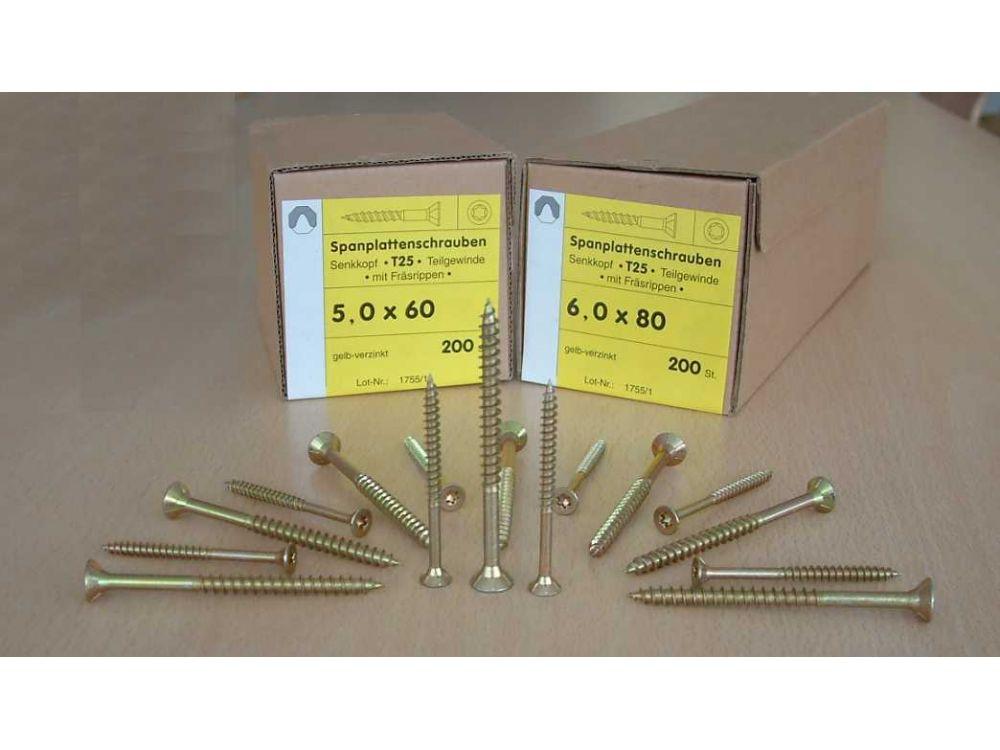 500 St/ück Spanplattenschrauben 4,0 x 40 mm TX20 Teilgewinde Holzschrauben Universal Schrauben Q200 Torx verzinkt gelb